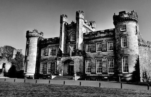 Airth Castle has the chilling history of a number of ghostly goings on.  A nanny and two young children are said to have died in a fire at the castle resulting in the haunting sounds of children playing in particular rooms (3,9 and 23).  Reports of cries and screams believed to be from a maid who was attacked by her master as well as a ghost dog who patrols the hallways of Airth Castle.  The Castle which overlooks the village of Airth and the River Forth, in the Falkirk area of Scotland is now an award-winning Hotel & Spa.
