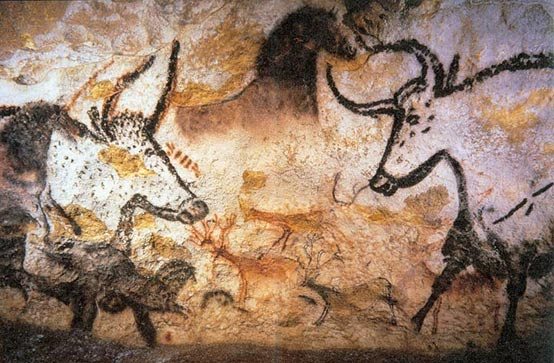 Drawings of aurochs are depicted in ochre and charcoal on the walls of caves in Lascaux in France.