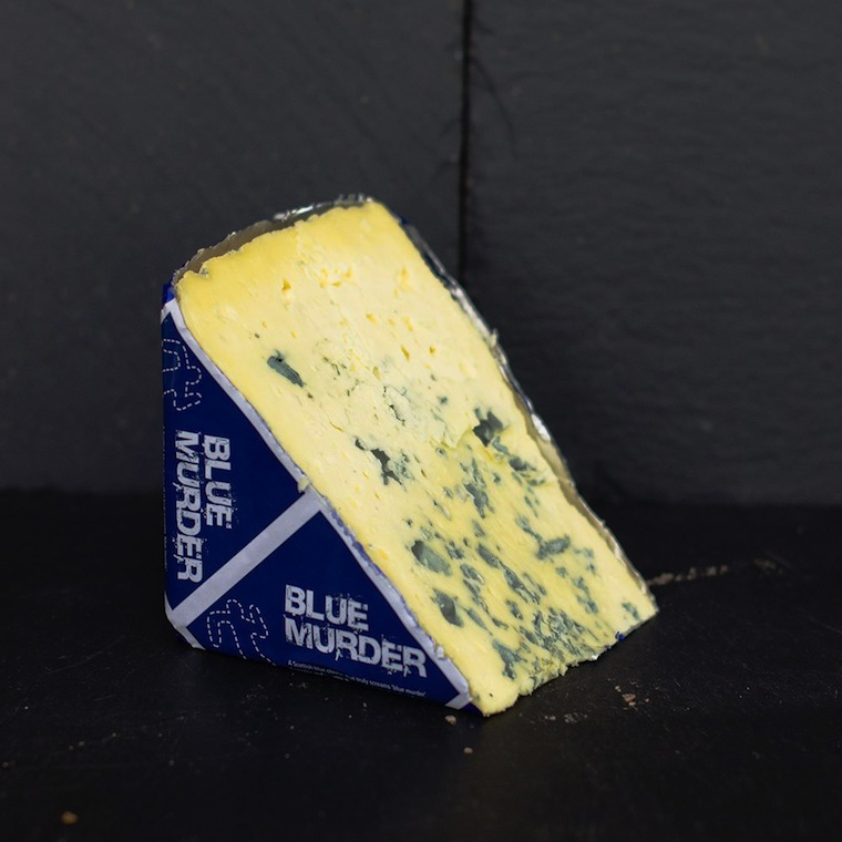 Blur Murder (formerly named Blue Monday) is a spicy, salty, ripe and creamy European style blue made by Highland Fine Cheeses in Tain. Bold with a strong flavour, it is made from cows milk.