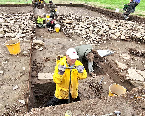 Professor Scott Pile from the Willamette University of Oregon at the Ness of Brodgar archaeology site.