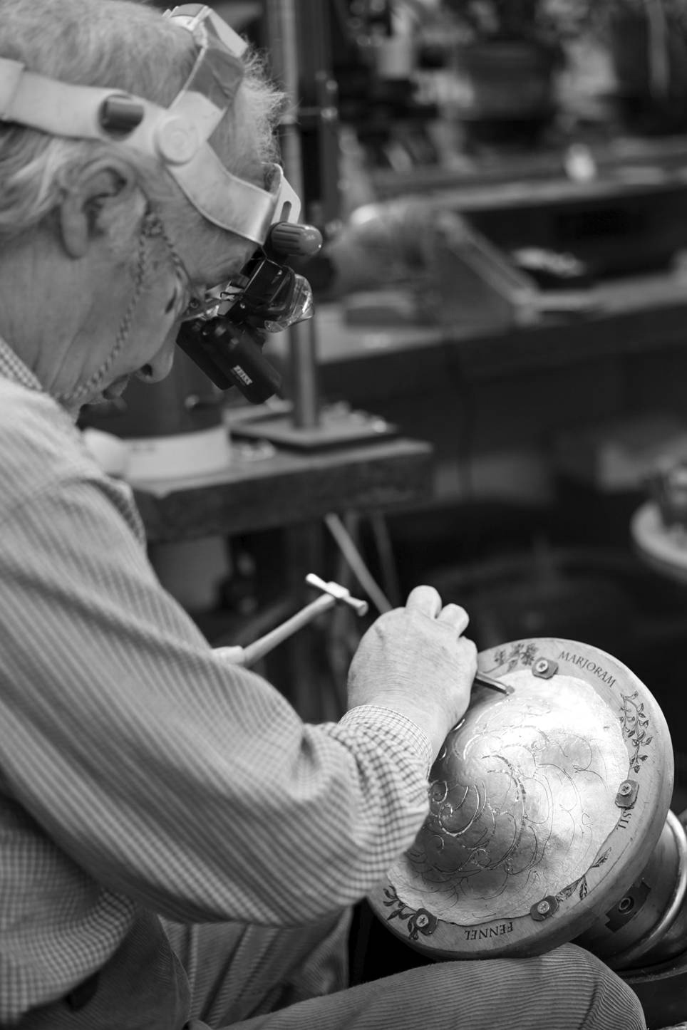 Malcolm Appleby in his workshop in Grandtully Perthshire, Scotland