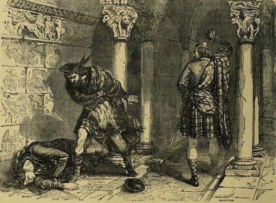 The killing of Cromyn by Bruce in Greyfriars monastery